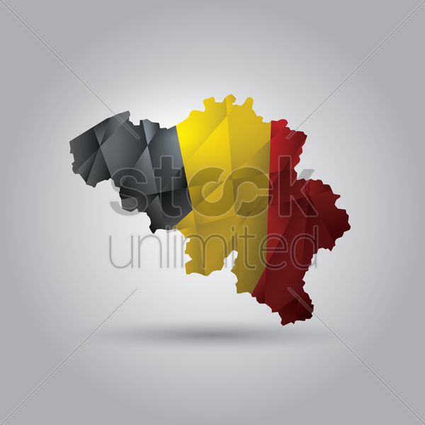 belgium map with flag vector graphic