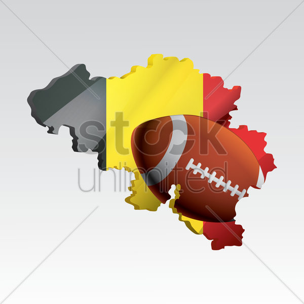belgium map with rugby ball vector graphic