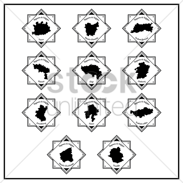 belgium province maps labels vector graphic