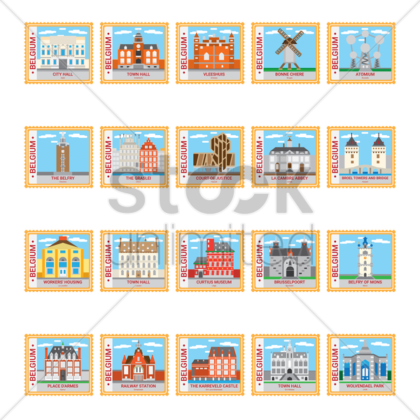 belgium stamp collection vector graphic