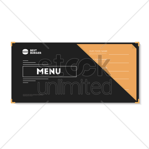 best burger menu card design vector graphic