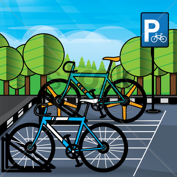 bicycle parking vector graphic