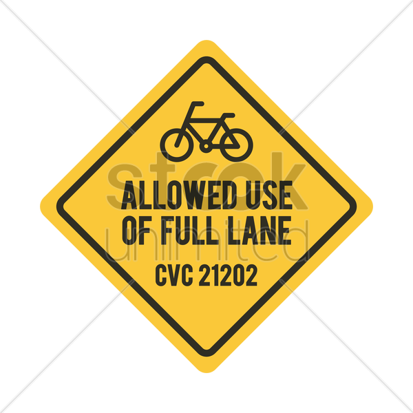 bicycles allowed use of full lane sign vector graphic