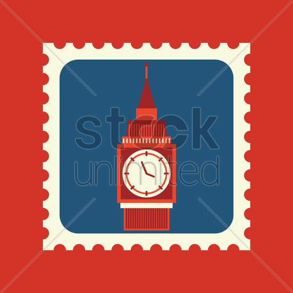 big ben postage stamp vector graphic