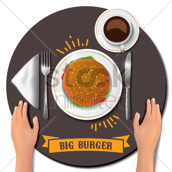 big burger on table with hands vector graphic