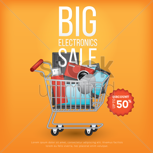 big electronics sale design vector graphic
