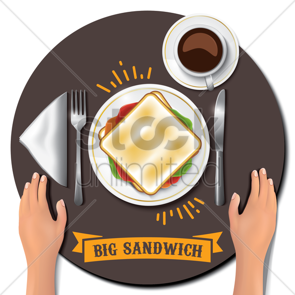 big sandwich on table with hands vector graphic