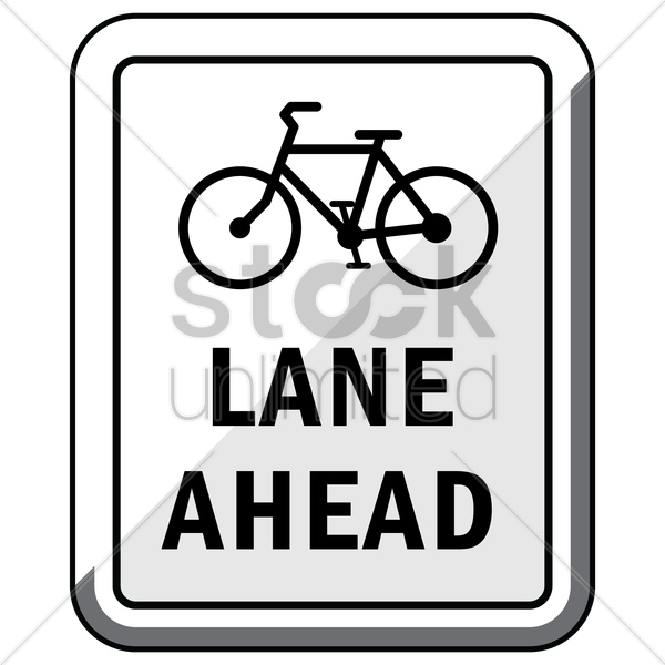 bike lane ahead road sign vector graphic