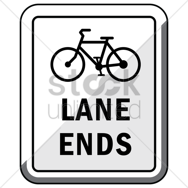 bike lane ends road sign vector graphic