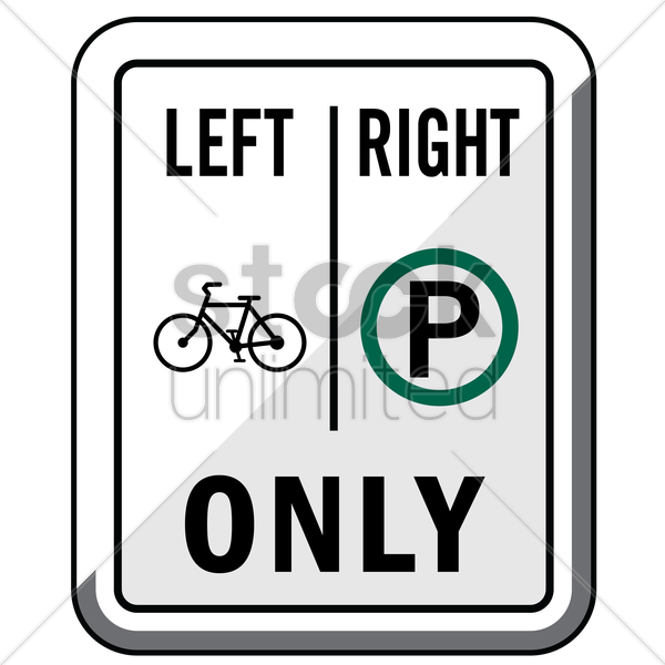 bike right parking only road sign vector graphic