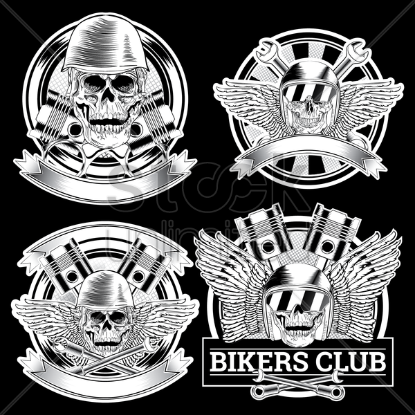 bikers club design set vector graphic