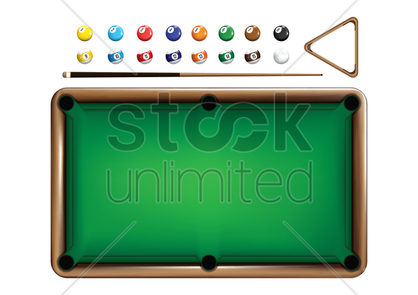 billiards equipment set vector graphic