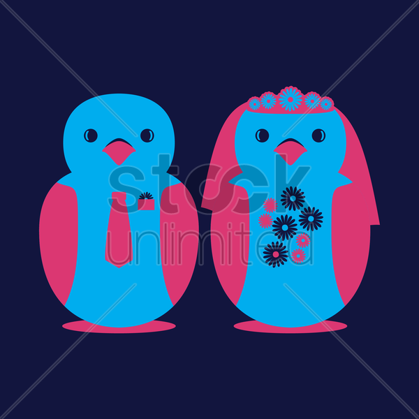 birds couple vector graphic