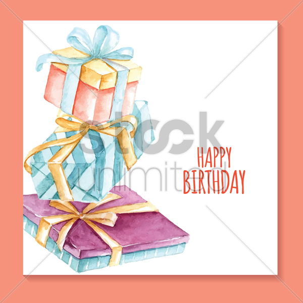 birthday card with gift box vector graphic