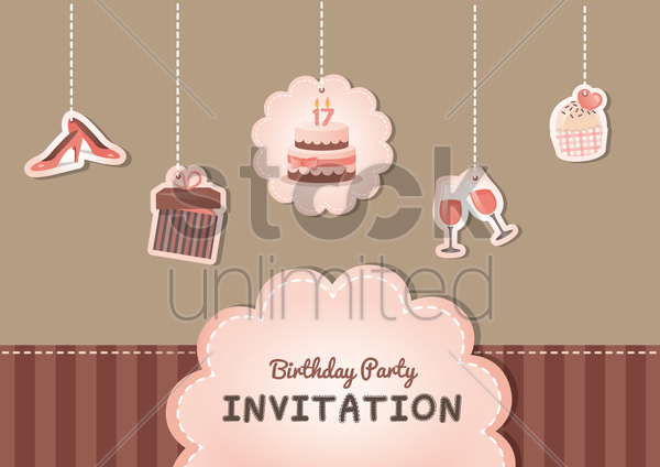 birthday card vector graphic