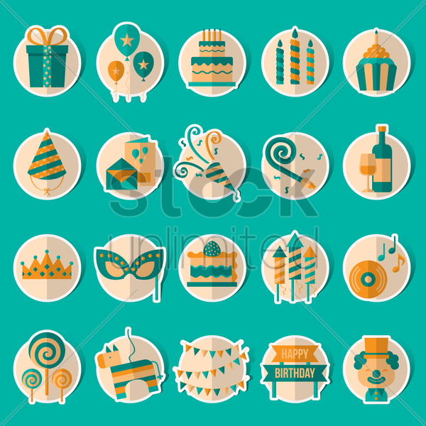 birthday celebration collection set vector graphic