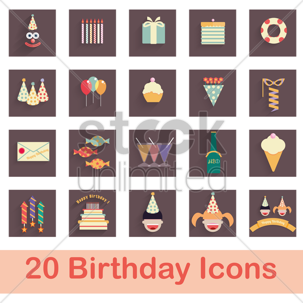 birthday celebration items vector graphic