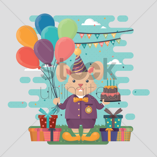 birthday celebration of a rabbit vector graphic