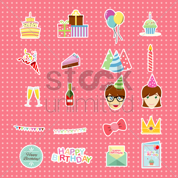 Free birthday collection vector graphic