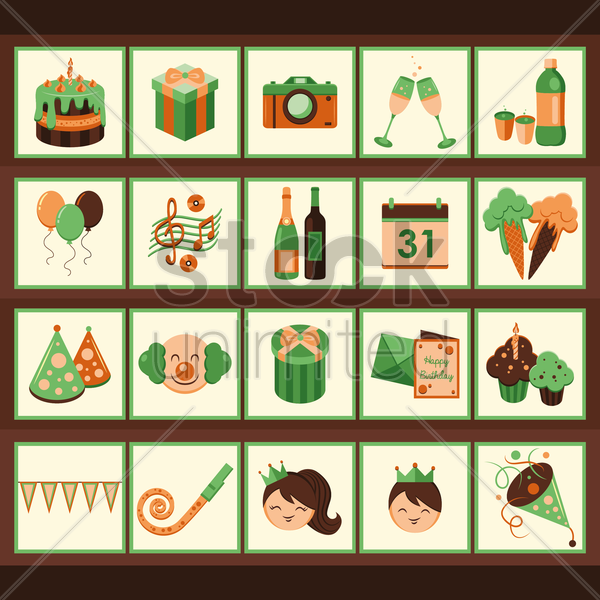 birthday icons vector graphic