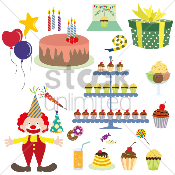 birthday item collection vector graphic