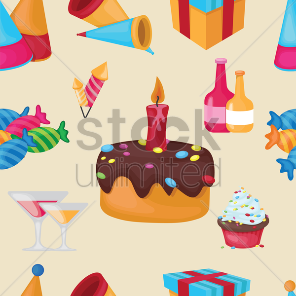 birthday items background vector graphic