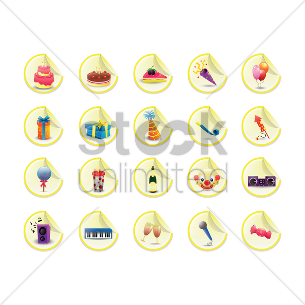 birthday party collection vector graphic