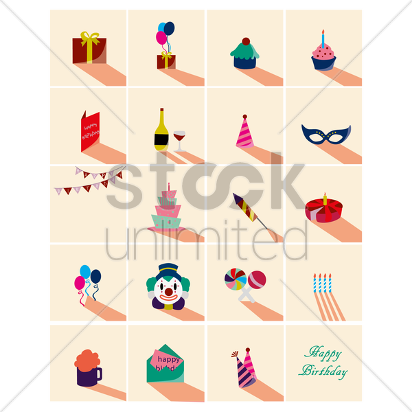 Free birthday party concept icons vector graphic