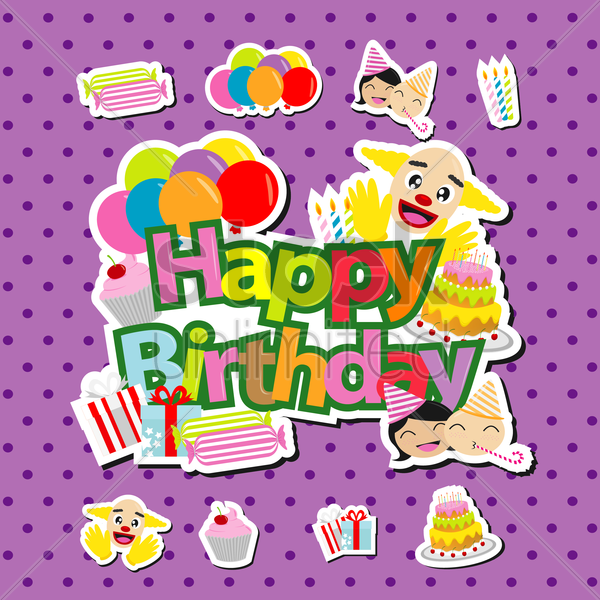 birthday party wallpaper vector graphic