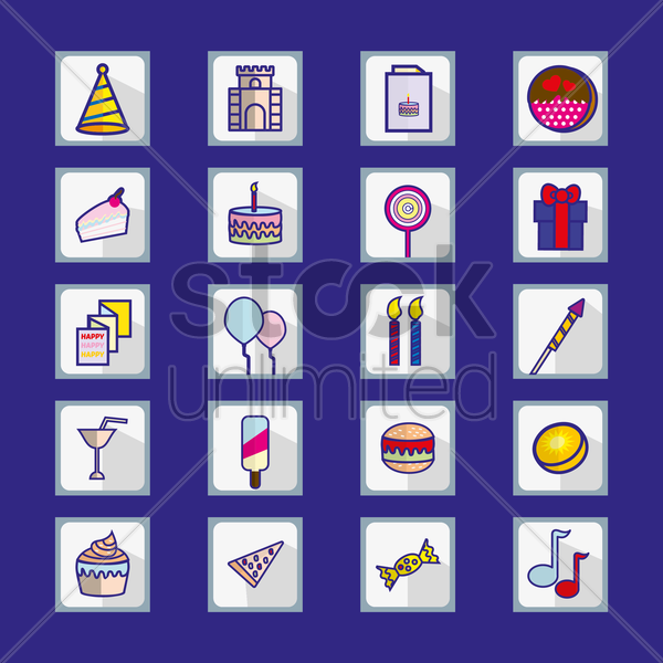 Free birthday set icon vector graphic