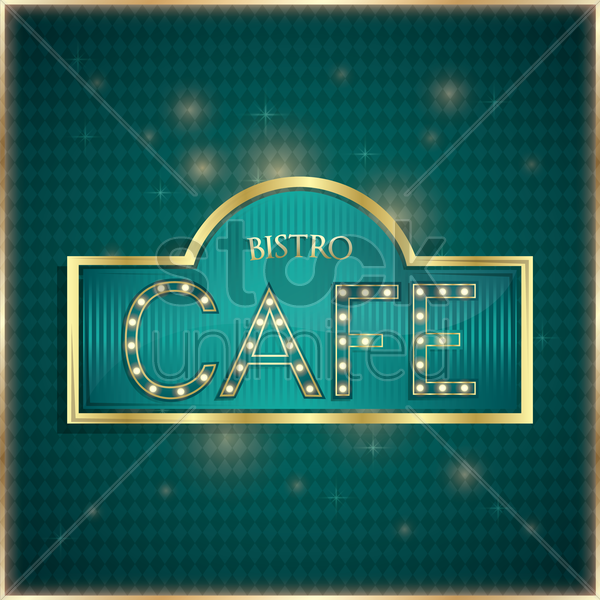 bistro cafe label vector graphic