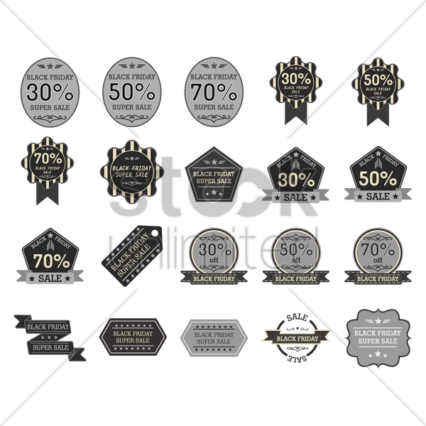 black friday icon set vector graphic