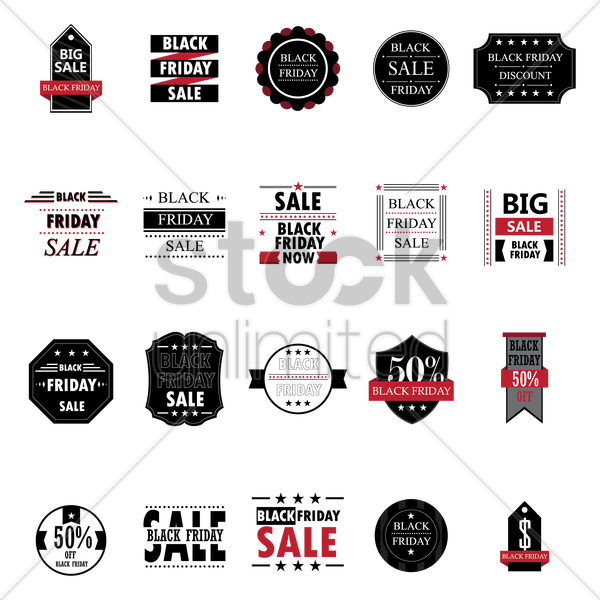 black friday label collection vector graphic