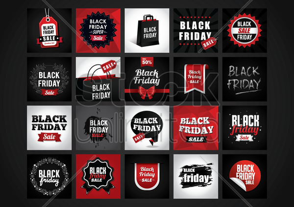 black friday sale collection vector graphic