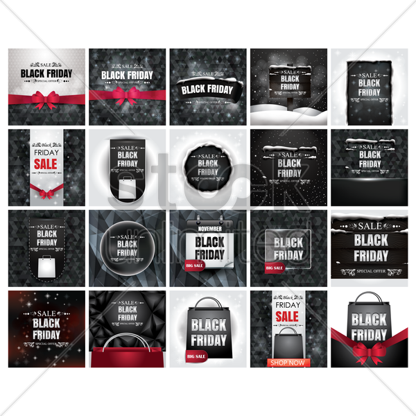 black friday sale set vector graphic