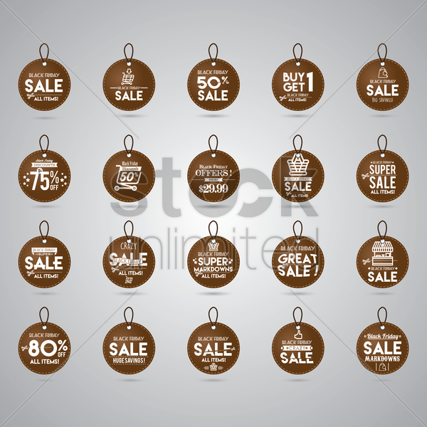 black friday sale tag collection vector graphic