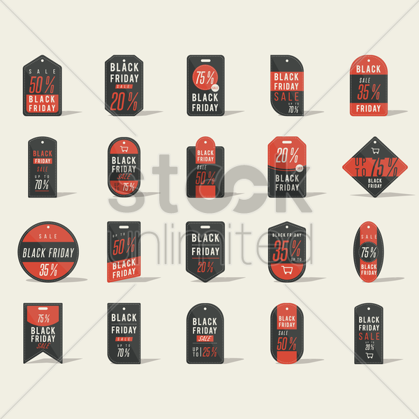 black friday sale tags collection vector graphic