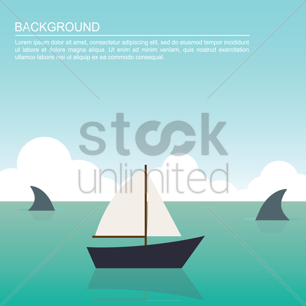 boat and shark fin on beach background vector graphic
