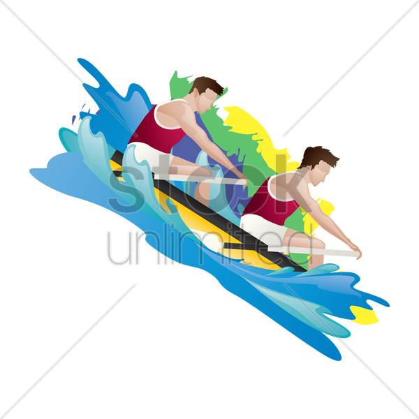 boat rowing in action vector graphic