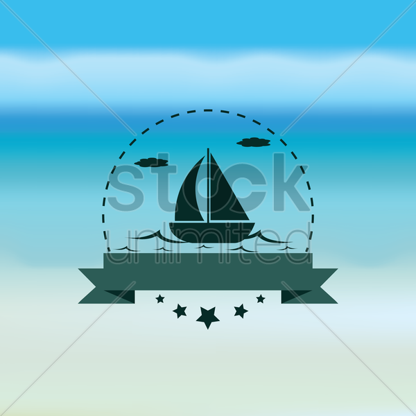 boat with banner vector graphic