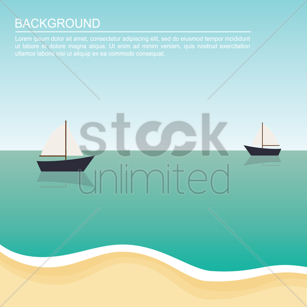 boats on beach background vector graphic