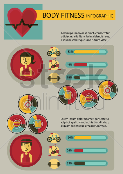 body fitness infographic vector graphic