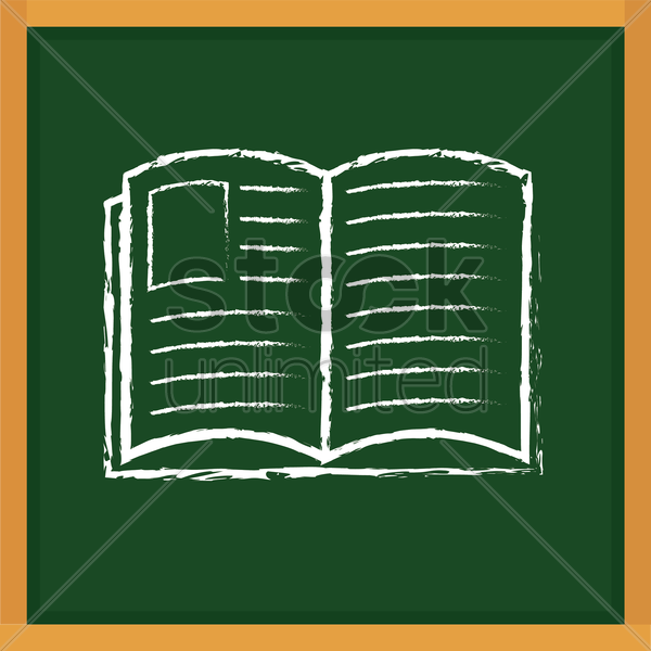 book drawn on chalkboard vector graphic