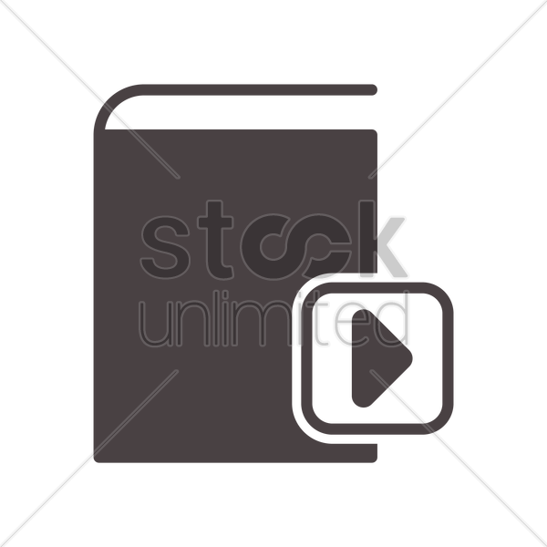 book icon with media button vector graphic