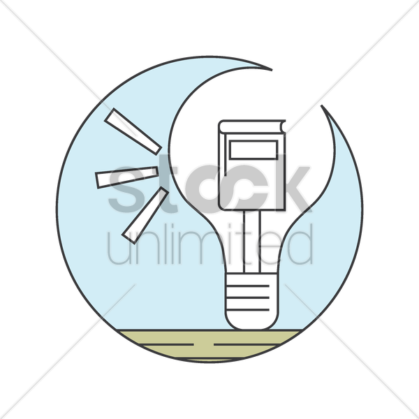 book in lightbulb vector graphic