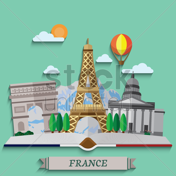 book of travel to france vector graphic