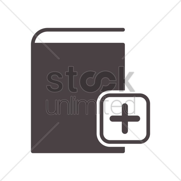 book with add icon vector graphic