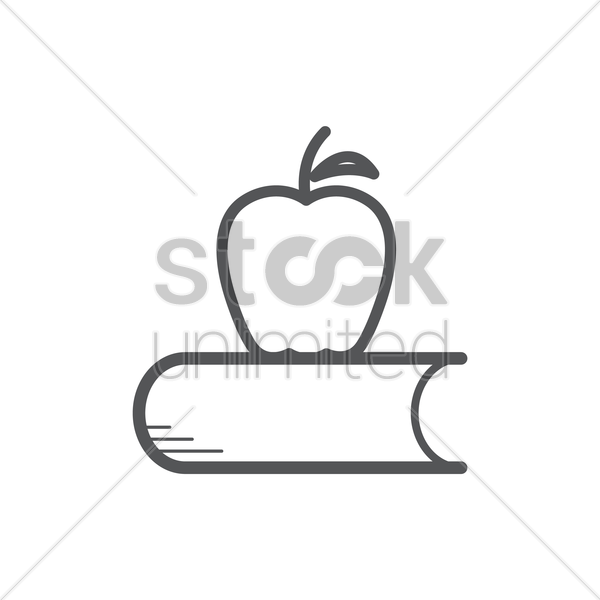 book with apple icon vector graphic
