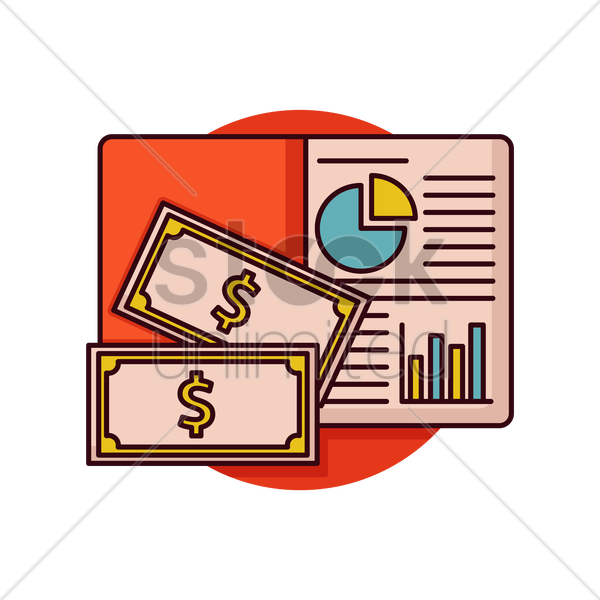 book with dollar bills vector graphic