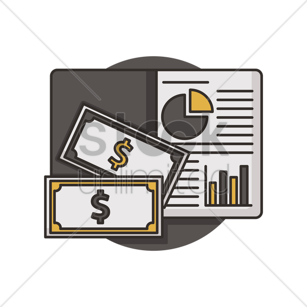 book with dollar notes vector graphic
